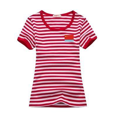新款短袖八一国旗海军衫短袖t恤海魂衫男蓝白半袖条纹印花体恤定