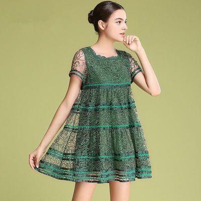 重工刺绣连衣裙女装2020夏季新款大码宽松时尚绣花蕾丝小个子裙子