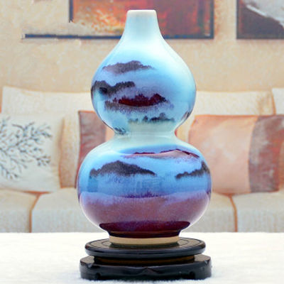 热卖陶瓷工艺品花瓶家居饰品客厅酒柜装饰品摆设钧瓷花瓶摆件创意