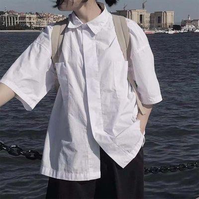 2020夏韩风短袖小衬衫女polo领设计感小众白色学生学院风洋气衬衣