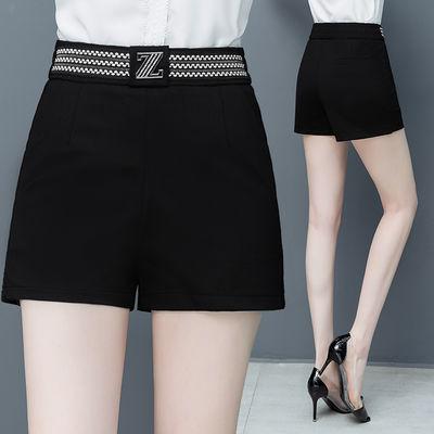 2020年夏季新款直筒阔腿裤女装高腰宽松显瘦薄款黑色a字西装短裤