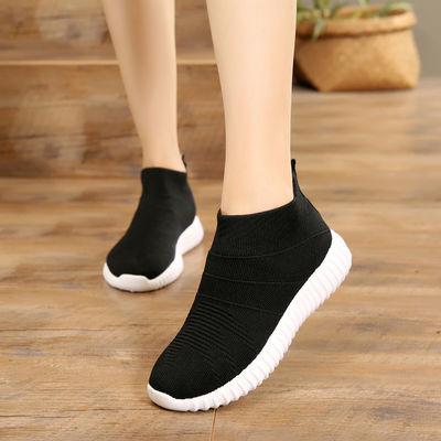 运动鞋女春夏季新款旅游鞋透气网面休闲鞋学生平底袜子鞋跑步鞋女
