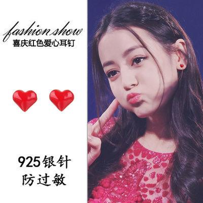 纯银红色爱心耳环耳钉女韩版国可爱学生网红少女小红桃心饰品耳坠
