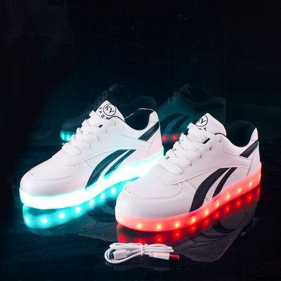 充电闪光灯鞋鬼步鞋荧光鞋夜光鞋女发光鞋男学生儿童街舞鞋单鞋潮