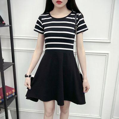 黑白条纹连衣裙女短袖2019夏季女装韩版修身显瘦中长款A字裙子