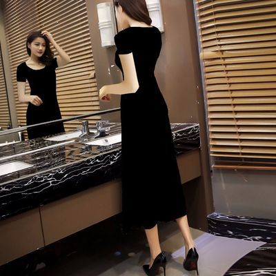 正品2020夏季性感豹纹连衣裙圆领大摆裙A字裙显瘦修身气质连衣裙