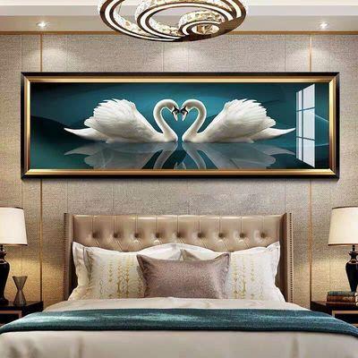 床头画客厅装饰画北欧风格沙发背景墙壁画现代卧室宾馆挂画天鹅湖