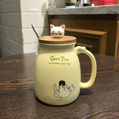 爆款网红猫咪杯子抖音马克杯子创意个性潮流带盖带勺杯子女家用可