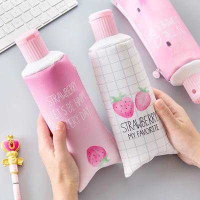 买就送贴纸创意韩国笔袋简约女生小清新牙膏草莓可爱文具学习用品