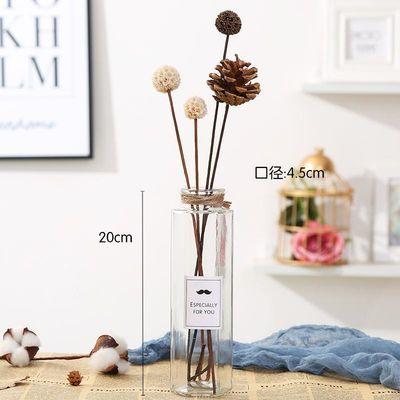 北欧小清新ins干花发光灯玻璃花瓶透明插花欧式家居摆件客厅装饰