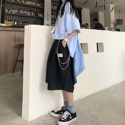 韩国INS潮街头宽松阔腿五分裤女夏新款原宿BF风嘻哈显瘦西装短裤