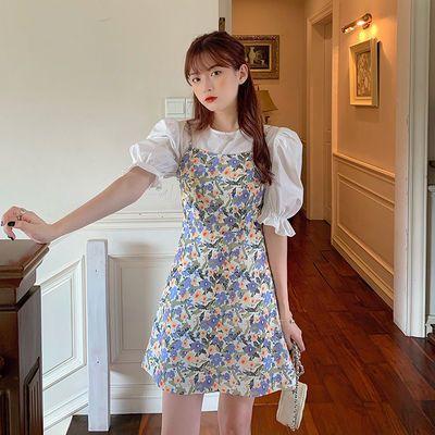 夏季2020新款小清新收腰显瘦甜美碎花外穿减龄吊带连衣裙女两件套
