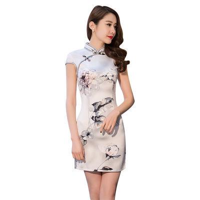 旗袍夏季2018新款女印花淡雅中国风时尚短款改良旗袍连衣裙