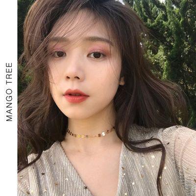 韩国简约百搭质感小圆片项链女锁骨链学生潮人冷淡风脖子饰品X188