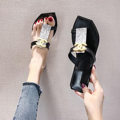 凉拖鞋女夏外穿学生韩版社会新款百搭网红平底女士沙滩时尚人字拖