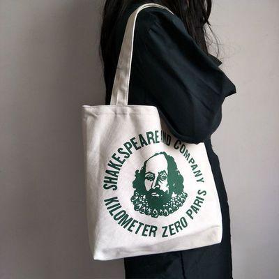 学院复古莎士比亚帆布包双面文艺简约字母文青百搭手提购物袋学生