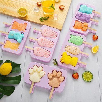 雪糕冰淇凌模具食品级硅胶创新自制冰棒冰糕工具家用卡通制冰盒