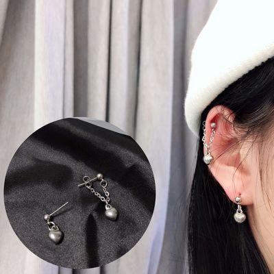 韩国可爱甜心耳钉女学生简约链条耳钉百搭个性耳环桃心甜美耳钉潮