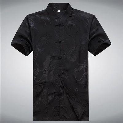 夏装新款中老年唐装短袖男装大码衬衫汉服中式立领大码中国风唐服