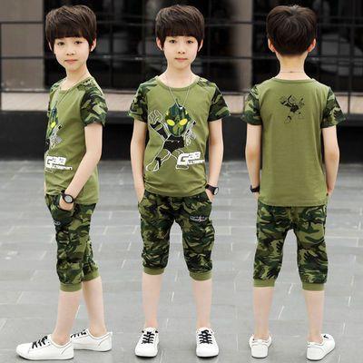 Ai男童夏装套装2019新款夏季4儿童迷彩服5短袖t恤9纯棉10中大童运
