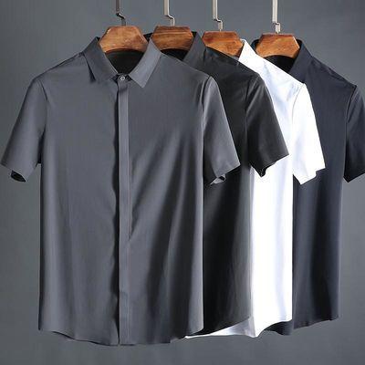 夏季高端丝滑无痕压胶垂感免烫不易皱男士商务修身短袖衬衫衬衣男