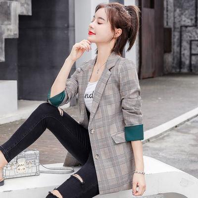 格子小西装外套女韩版2020新款春秋网红气质休闲修身西服女式上衣