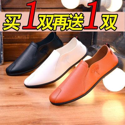 【买一双送一双】男鞋软底一脚蹬春季男鞋英伦风鞋休闲皮鞋豆豆鞋