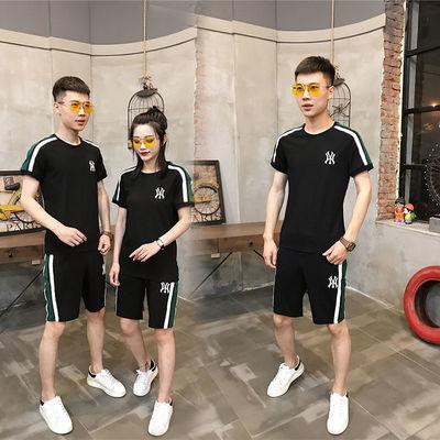 2020夏季新款网红情侣运动套装男女潮牌刺绣MY短袖短裤休闲两件套