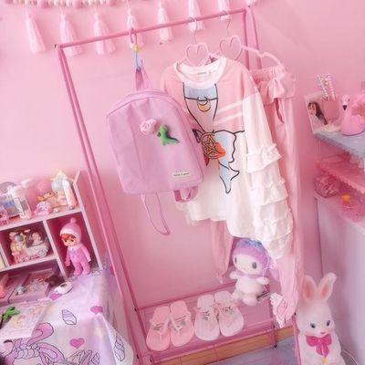 粉色铁艺衣架 少女心卧室落地衣帽架双层置物架 可爱挂衣架萌包邮