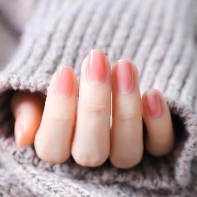 裸色透明指甲油免考不可剥健康红奶茶裸色美甲套装学生显白果冻色