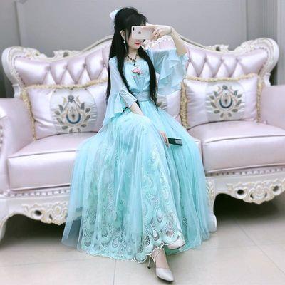 原创新国风连衣裙2020年夏季新款女装绿色重工绣花气质汉服长裙
