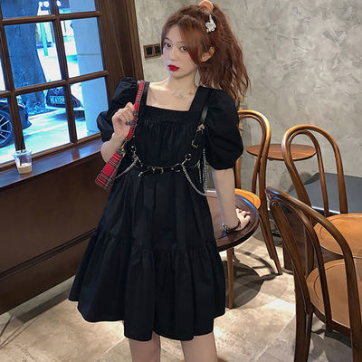 加肥加大码黑色泡泡袖连衣裙夏季胖mm遮肚子显瘦方领公主裙200斤