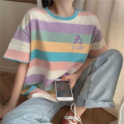 短袖T恤女2020夏季新款韩版宽松网红彩虹条纹泫雅风闺蜜上衣ins潮