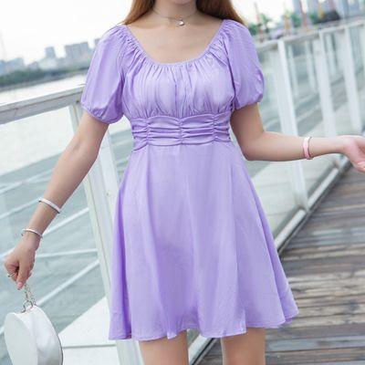 夏季2020新款紫色系收腰显瘦中长款气质褶皱大码女装透气连衣裙