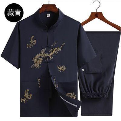 夏天男士短袖唐装男中老年人薄款套装爷爷爸爸立领中国风汉服上衣
