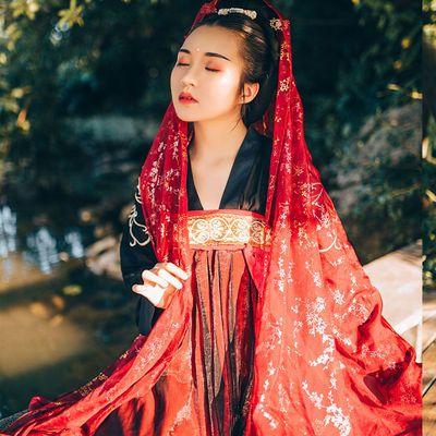 热销原创汉服女彼岸花齐胸襦裙红色汉服秋款仙女裙清新飘逸淡雅唐