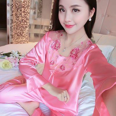 韩版夏季真丝睡衣女长袖春秋季冰丝绸薄款蕾丝两件套装奢华家居服