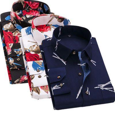 夏季薄款男士长袖衬衫中年中老年人父亲爸爸装印花休闲格子衬衣服