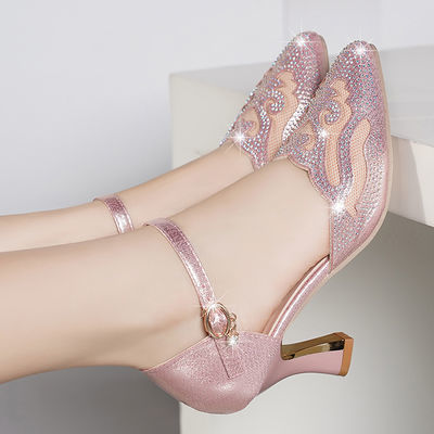 夏季新款真软皮一字扣高跟鞋尖头水钻凉鞋女鞋子细跟单鞋女士时尚