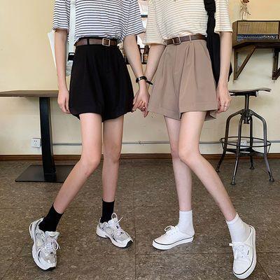 西装阔腿休闲短裤女夏装韩版2020新款高腰显瘦卷边薄款BF风裤子潮