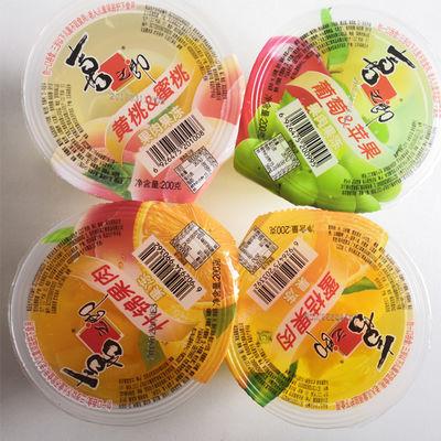 热卖【喜之郎果肉果冻】什锦蜜桔葡萄黄桃200g*4包邮办公休闲零食