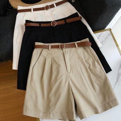 棉布西装白色夏季女短裤!阔腿裤2020薄款宽松裤子送腰带腰带巨