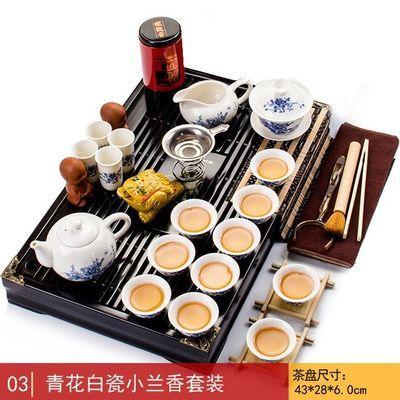 整套功夫茶具套装茶盘喝茶家用简约四合一电热磁炉紫砂实木茶台道