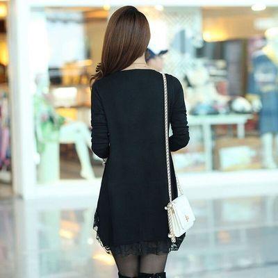 【加绒加厚】秋冬装新款韩版蕾丝打底裙女中长款宽松大码连衣裙女