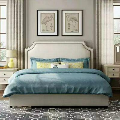 北欧布艺床1.8米小户型主卧双人床简约现代软包布床样板房网红床