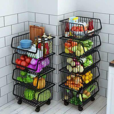 厨房置物架落地多层蔬菜水果篮移动收纳蓝家用多功能沥水储物架子