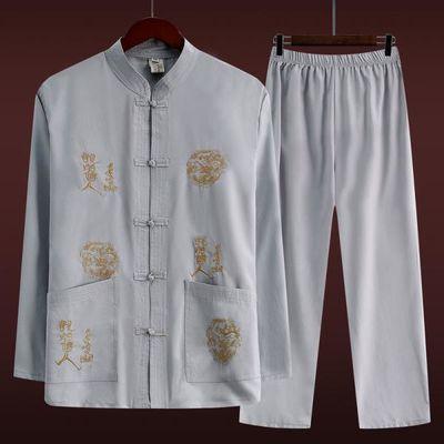 中国风夏季爸爸套装中老年人男士唐装长袖衬衫装老人中式爷爷汉服