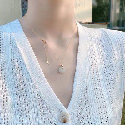 14包金天然和田玉锁骨链平安扣玉石项链925银女士气质款不褪色