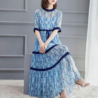 2020夏季女装新款宽松系带收腰气质中长款雪印花碎花洋气连衣裙女
