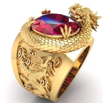 美妞儿新款镶嵌红宝石戒指3D雕刻立体霸气龙电镀仿金时尚朋克饰品